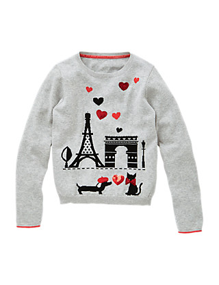 Pure Cotton Paris Scene Jumper (5-14 Years) Clothing