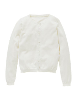 Cotton Rich Crew Neck Cardigan (5-14 Years) Clothing
