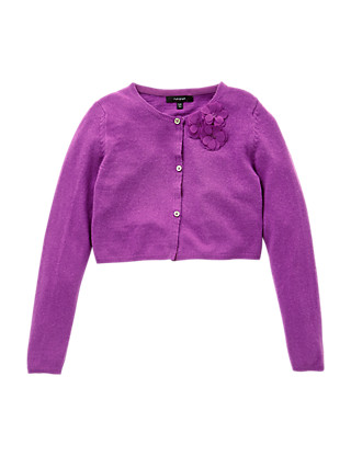 3D Flowers Cropped Cardigan with Wool (5-14 Years) Clothing