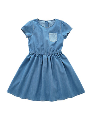 Pure Cotton Denim Dress (5 -14 Years) Clothing