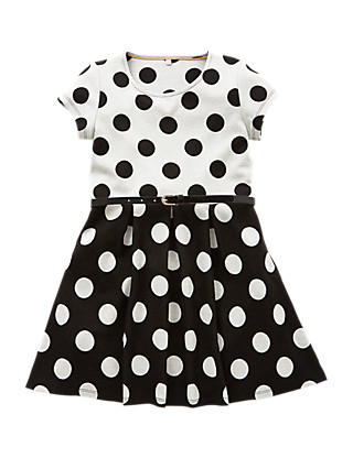Spotted Belted Dress (5-14 Years) Clothing