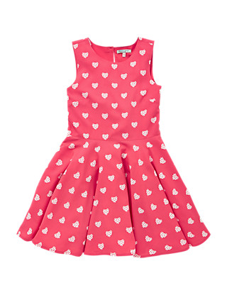 Heart Print Girls Dress (5-14 Years) Clothing