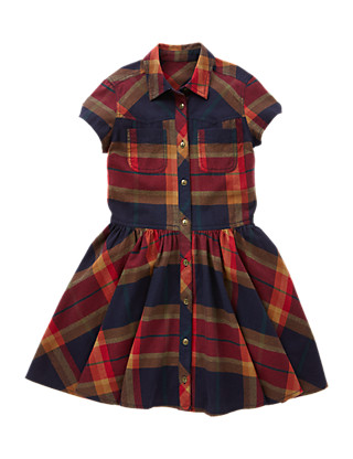 Pure Cotton Tartan Checked Shirt Dress (5-14 Years) Clothing