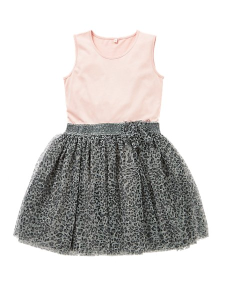 Pure Cotton Leopard Print Mesh Girls Dress (5-14 Years)