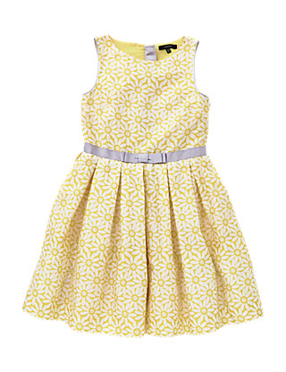 Pure Cotton Floral Girls Dress (5-14 Years) Clothing