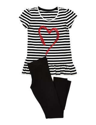 2 Piece Cotton Rich Sequins Embellished Heart Top & Leggings Outfit (5-14 Years) Clothing