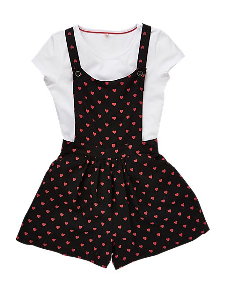 2 Piece Heart Print Playsuit & T-Shirt Girls Outfit (5-14 Years)