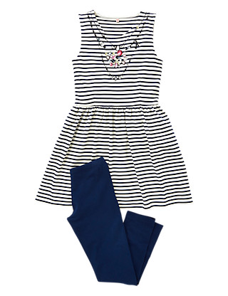 2 Piece Jewel Embellished Striped Tunic & Leggings Outfit (5-14 Years) Clothing