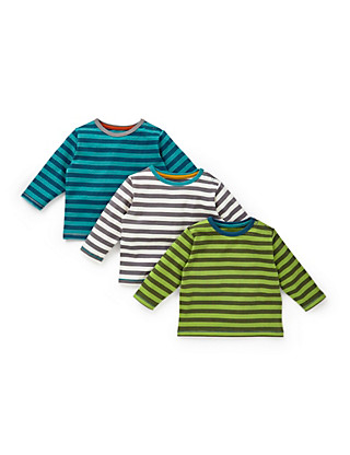 3 Pack Pure Cotton Striped T-Shirts Clothing