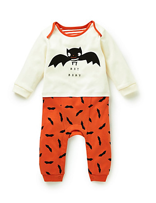 Pure Cotton Bat Print Onesie Clothing