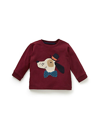 Pure Cotton Dog Appliqué Tee Clothing