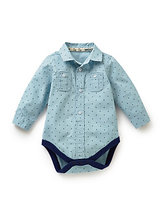 Pure Cotton Spotted Shirt Bodysuit Clothing