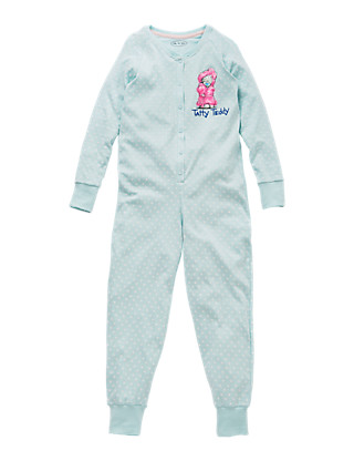 Pure Cotton Tatty Teddy Spotted Onesie (6-16 Years) Clothing