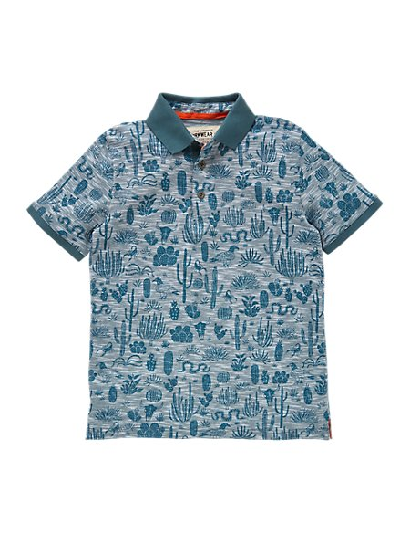 Pure Cotton Assorted Print Boys Polo Shirt (5-14 Years)