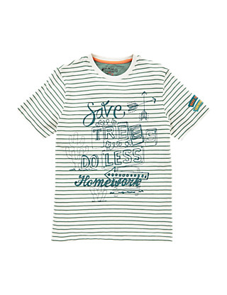 Pure Cotton 'Save Trees Do Less Homework' Slogan Boys T-Shirt (5-14 Years) Clothing
