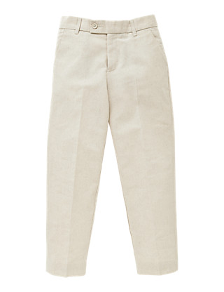 Flat Front Trousers with Linen (5-14 Years) Clothing