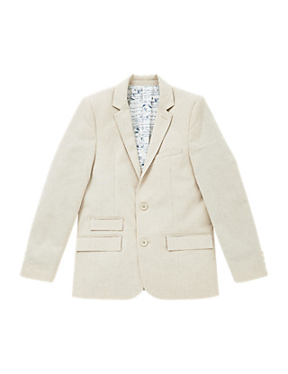 Notch Lapel 2 Button Textured Blazer with Linen (5-14 Years) Clothing