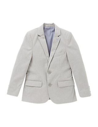 Pure Cotton Notch Lapel 2 Button Dogtooth Blazer (5-14 Years) Clothing