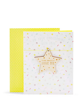 Shine Bright Little One Wooden Star Christening Card