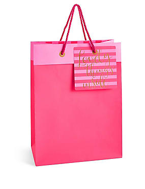 Lovely Things Hot Pink Large Gift Bag, , catlanding