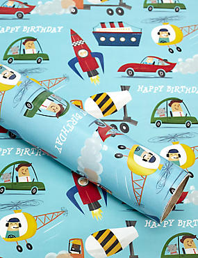 Transport Icons 2m Birthday Wrapping Paper