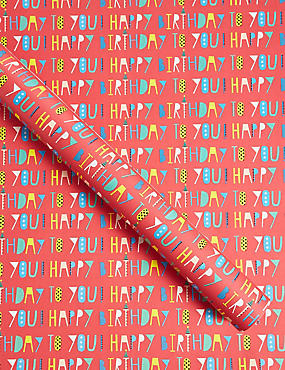 Happy Birthday Text Roll Wrap
