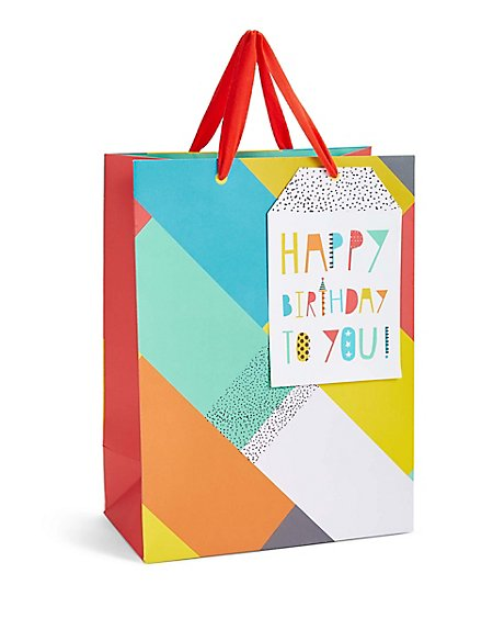 Happy Birthday Bright Block Pattern Large Gift Bag