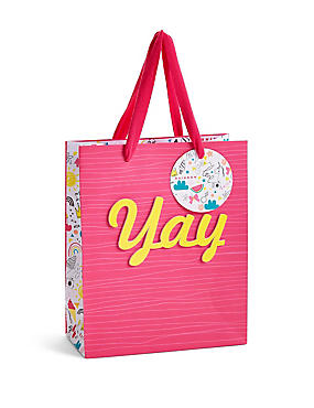 Yay Contemporary Illustration Pink Small Gift Bag