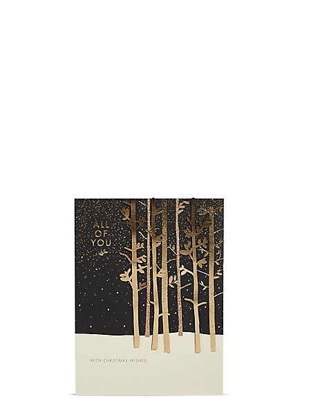 All Of You Gold Forest Christmas Card