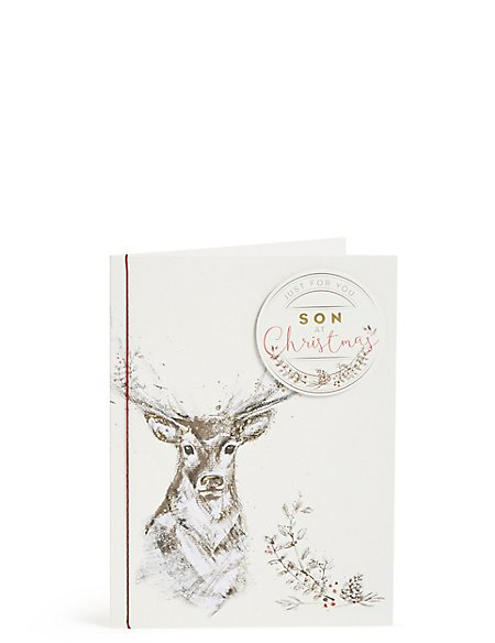 Son Stag Christmas Card