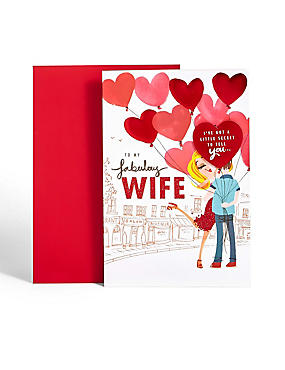 Love Heart Fabulous Wife Valentine's Day Card