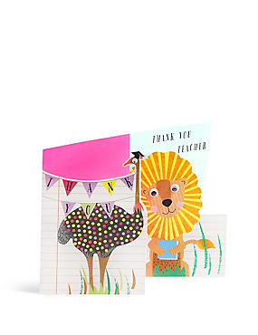 Set of 6 Animal Thank You Teacher Card