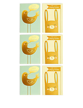 6 Gold Rabbit & Bird Easter Multipack Cards