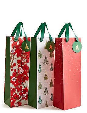 Red Multipack Christmas Bottle Bags, , catlanding