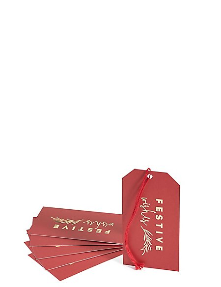 Festive Wishes Red & Gold Christmas Gift Tags