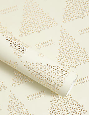 Gold Trees Christmas Wrapping Paper 3m