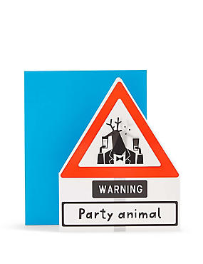 Lenticular Caution Party Animal Birthday Card