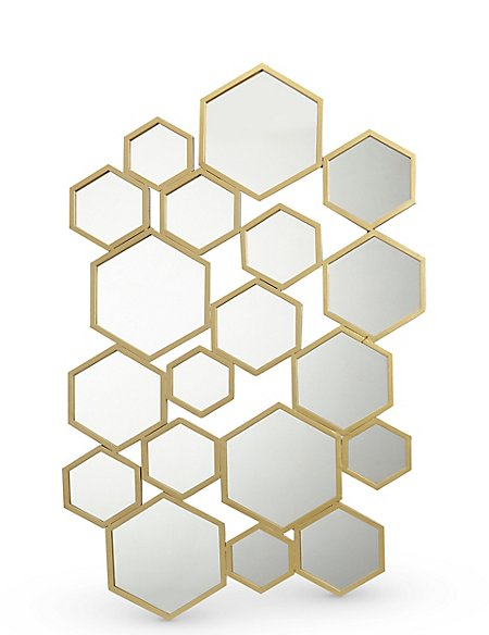 Hexagon Metal Frame Mirror