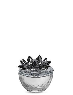 Cut Glass Flower Trinket Box, SILVER, catlanding