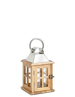 Small Wooden Lantern, NATURAL, catlanding