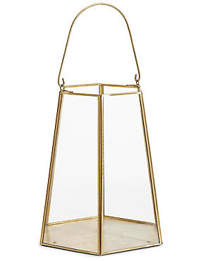 Large Nina Lantern, ANTIQUE BRASS, catlanding