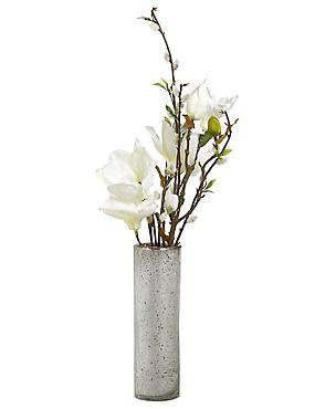Magnolia & Pussywillow in Mercury Vase, WHITE, catlanding