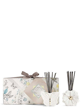 Butterfly & Flower Ceramic Diffuser Set