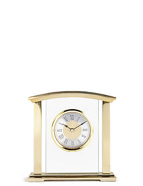 Metal & Glass Mantel Clock