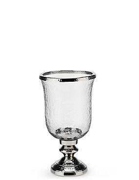 Glass & Metal Hurricane Candleholder