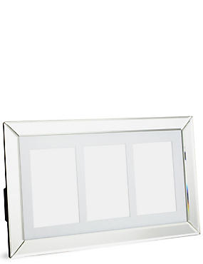 Mirrored 3 Aperture Photo Frame