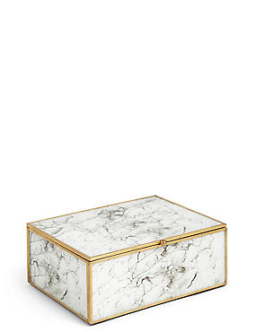 Marble Print Large Trinket Box