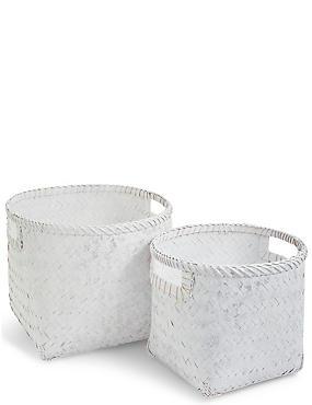 Set of 2 Bamboo Round Baskets, , catlanding
