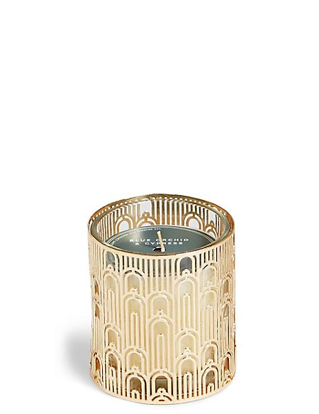 Blue Orchid & Cypress Small Metal Candle