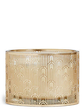 Blue Orchid & Cypress Large Metal Candle